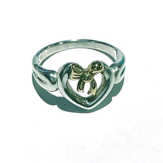 ティファニー リング 指輪 シルバー ハートウィズボウ SV925 K18YG サイズ9 TIFFANY&Co