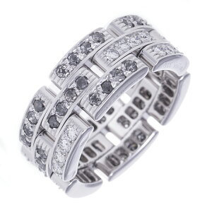 【値下げしました】カルティエ 指輪 リング マイヨンパンテール フルダイヤモンド ファンシーグレイ 可動チェーン K18WG Cartier