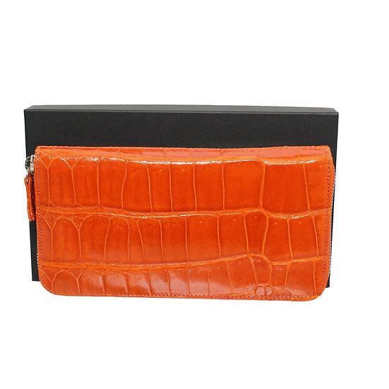 クロコ 長財布 ラウンドファスナー 高級クロコダイル 国内縫製品 シャインオレンジ