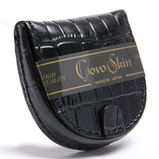 小銭入れ コインケース 牛革 カウスキン 手縫い 馬蹄型 クロコ型押 ブラック 日本製