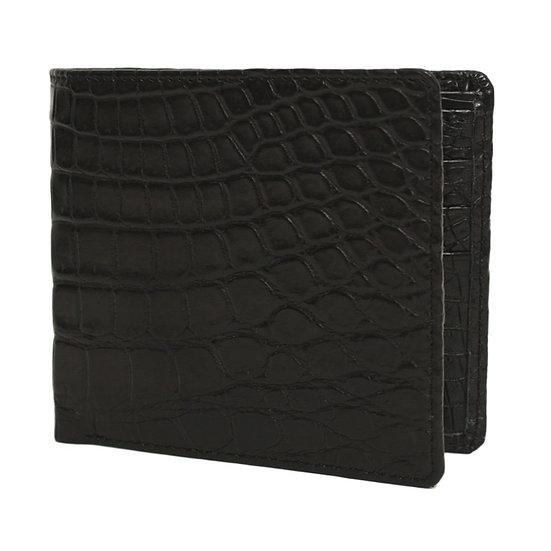 財布 二つ折り メンズ クロコ 腹ワニ(肚ワニ) ブラック