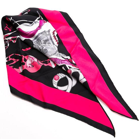 エルメス スカーフ 三角 ポワントゥ シルク tout en carre ピンク/ブラック系 HERMES