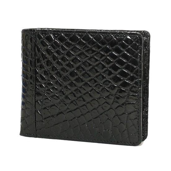 財布 メンズ 二つ折り クロコ ブラック シャイン 国内縫製