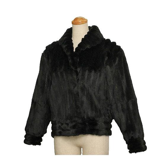 毛皮 レディース ジャケット ショートコート ミンク ドルマンスリーブ ブラック サイズ15