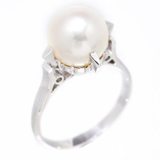 パール 指輪 リング プラチナ Pt900 立て爪