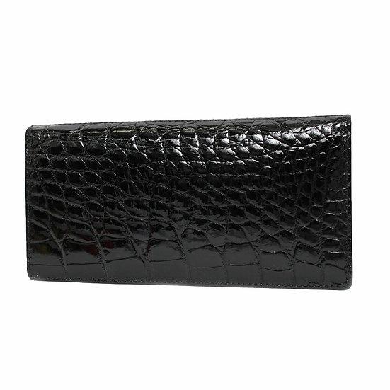 長財布 メンズ クロコ マチ付き カードポケット シャインクロコダイル ブラック