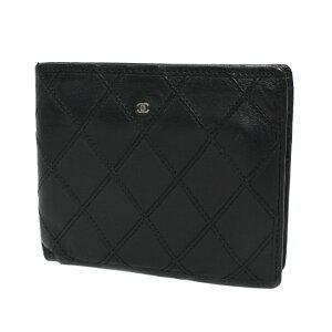 【値下げしました】シャネル 財布 二つ折り マトラッセ ココマーク Wステッチ ブラック 訳あり CHANEL