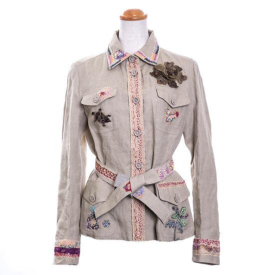 モスキーノ レディース ジャケット リネン 海の生物 モチーフ ビーズ 刺繍 訳あり MOSCHINO