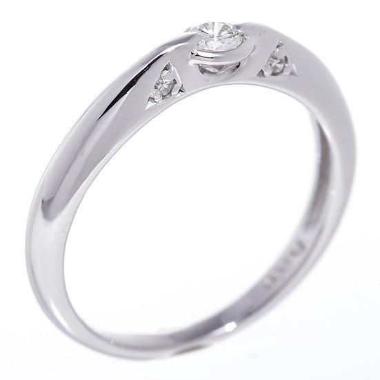 指輪 ダイヤ リング プラチナ 0.13ct Pt900 ベゼルセッティング 脇石4石