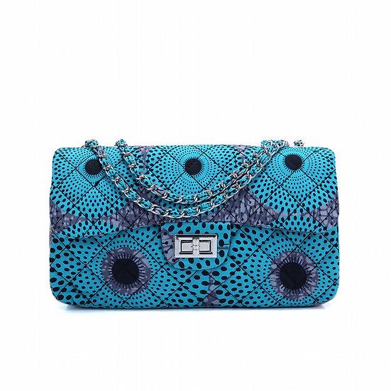 ククアフリカン アフリカ布 キルティング ショルダー チェーン バッグ ハンドメイド BATIK blue セネガル coucou African