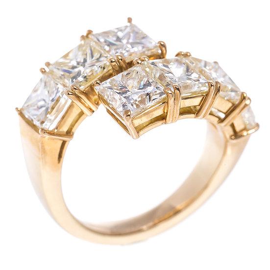 指輪 リング K18YG ダイヤ スクエア レディース 12号 1ct以上7石 合計7.2ct