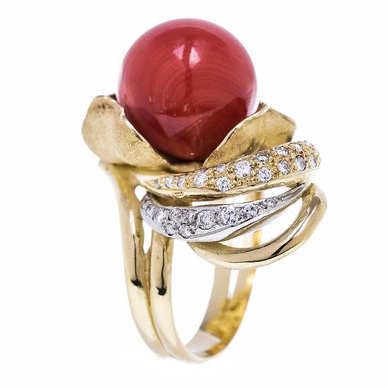 指輪 赤サンゴ 天然 丸玉 13.7mm K18YG リング 10号