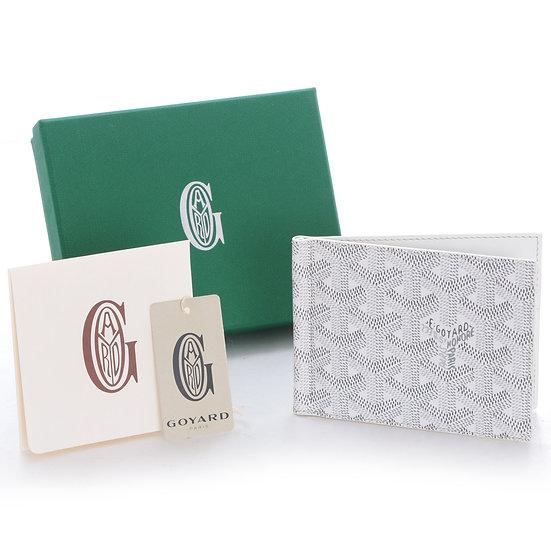 ゴヤール マネークリップウォレット カードケース  GOYARD ヘリンボーン柄 ホワイト USED 101209