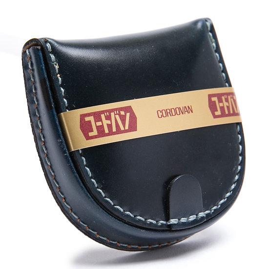 コードバン 小銭入れ コインケース 手縫い 馬蹄型 濃紺 日本製
