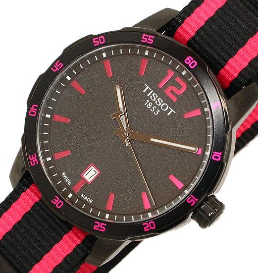 ティソ 腕時計 メンズ ユニセックス クイックスター 交換ストラップ付 T095.410.37.057.01 SS クオーツ 黒文字盤 ピンクインデックス T