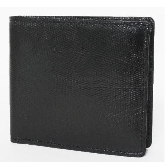 リザード 財布 二つ折り 小銭入れ付き ブラック 新品 国内縫製 訳あり