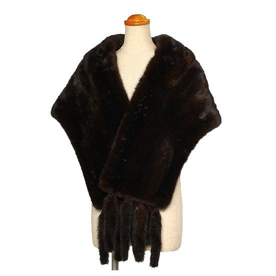 毛皮 ファー ショール ミンク 和装 洋装 フリンジ付き ダークブラウン