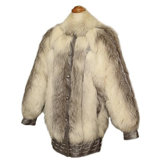 毛皮 コート レディース フォックス レザー ホワイト/シルバーグレー Sサイズ