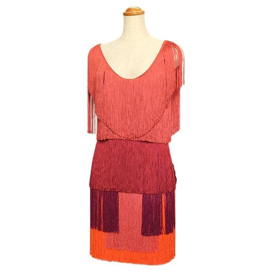 ランバン ドレス ワンピース 全面フリンジ オレンジ×レッド系 サイズ36 未使用品 LANVIN