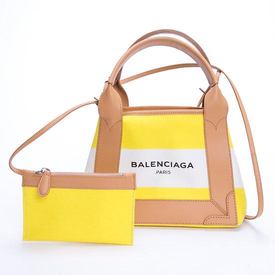 バレンシアガ カバ キャンバス ロゴ トート ストライプ イエローXS BALENCIAGA