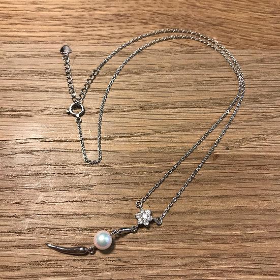 ネックレス ペンダント パール 真珠 6mmアップ ダイヤ 0.2ct プラチナ Pt850