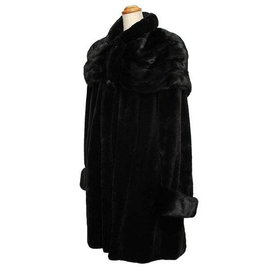 サガミンク コート 毛皮 シェアードミンク ロングコート ブラック SAGA MINK