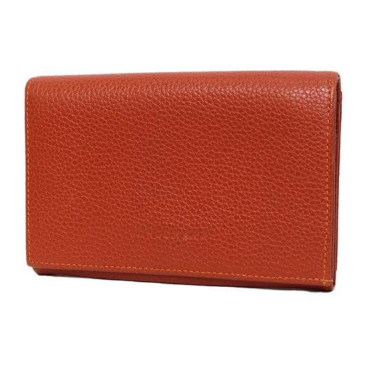 ロンシャン 財布 レザー ホック式ファスナー 赤茶色 LONGCHAMP
