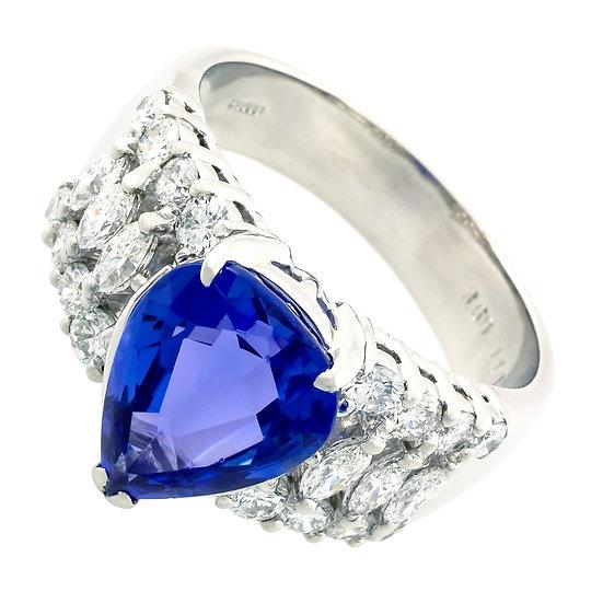 指輪 リング タンザナイト ブルーゾイサイト 3.682ct ダイヤ1.10ct プラチナ Pt900