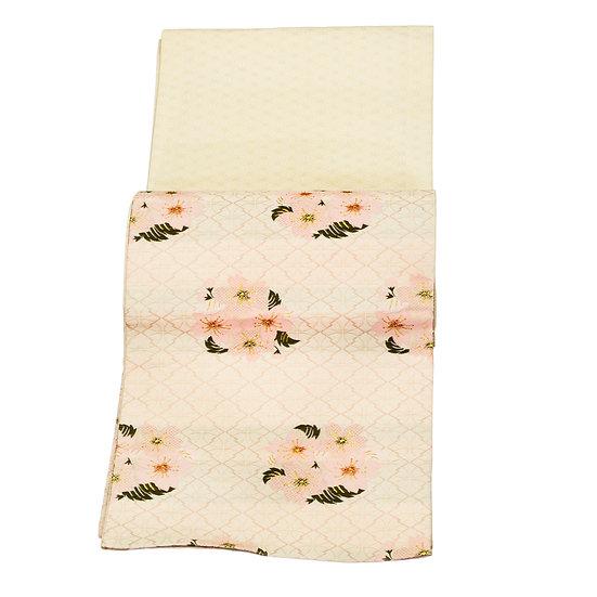 帯 桜花柄 ピンク系 金色糸あり 着物 和装