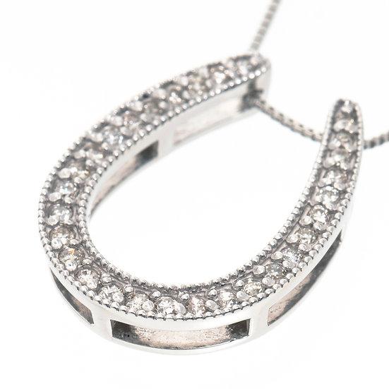ネックレス ペンダント ダイヤモンド パヴェ K18WG 馬蹄 ホースシュー ラッキーチャーム