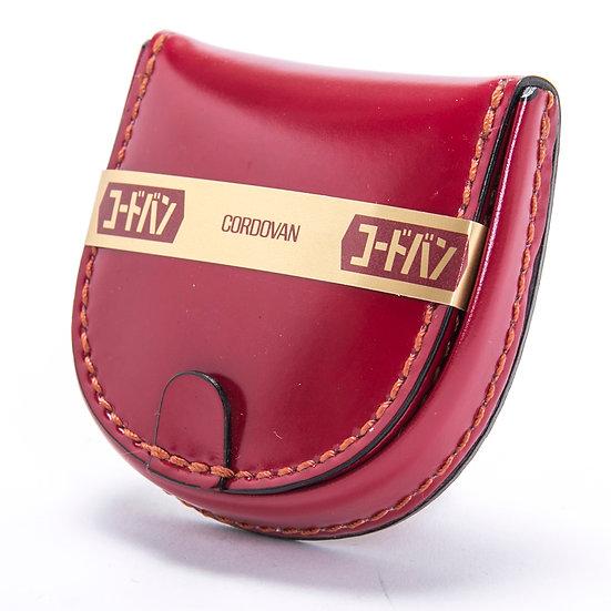 コードバン 小銭入れ コインケース 手縫い 馬蹄型 レッド 日本製