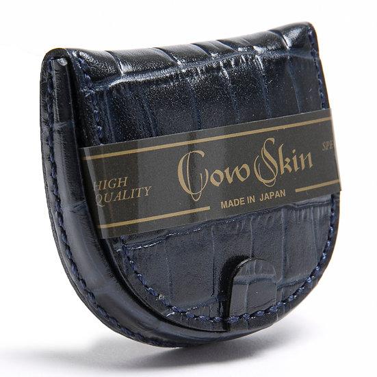 小銭入れ コインケース 牛革 カウスキン 手縫い 馬蹄型 クロコ型押 ネイビー 日本製