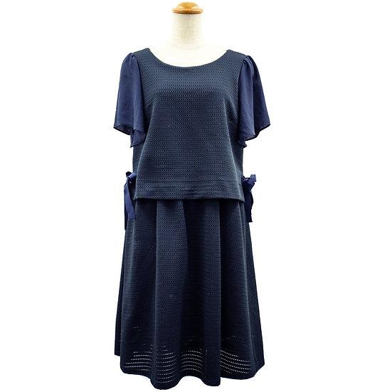 クチュールブローチ ワンピース ドッキング リボン 紺 Couture brooch