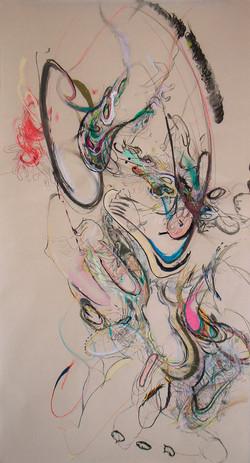 佐佐木實『身體』2013年/紙に鉛筆、色鉛筆、木炭、パステル、水彩、グワッシュ、インク、胡粉、シール