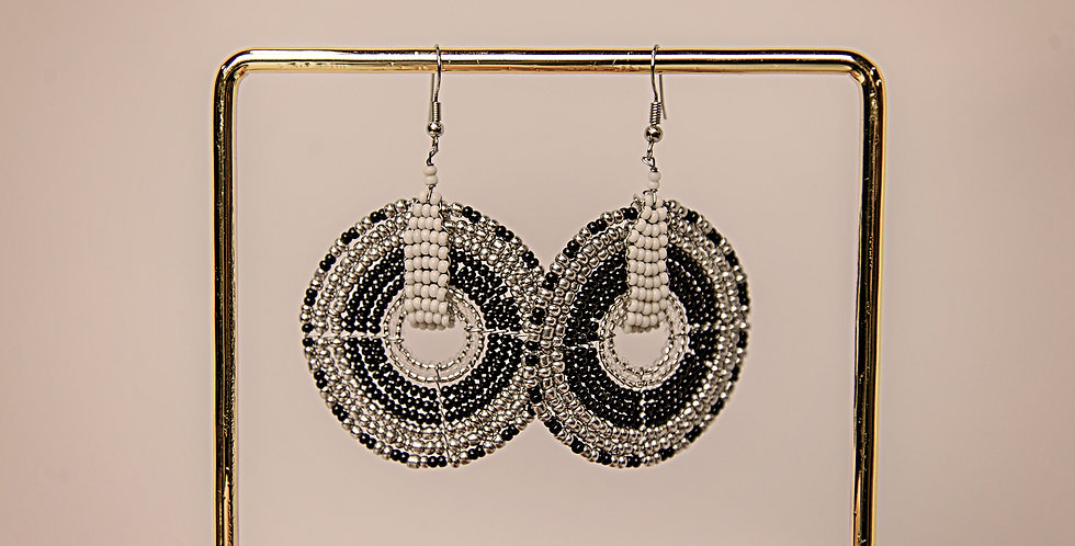 DUARA EARRINGS (BLACK/SILVER/WHITE)