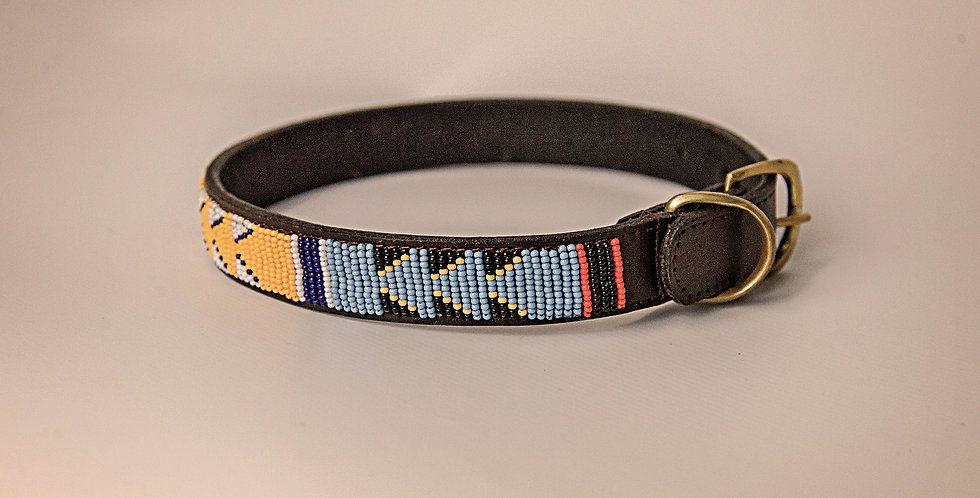 LEATHER BEADED PET COLLAR LARGE