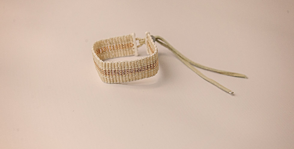 NARROW STRIPE WARRIOR BRACELET (CREAM/GOLD)