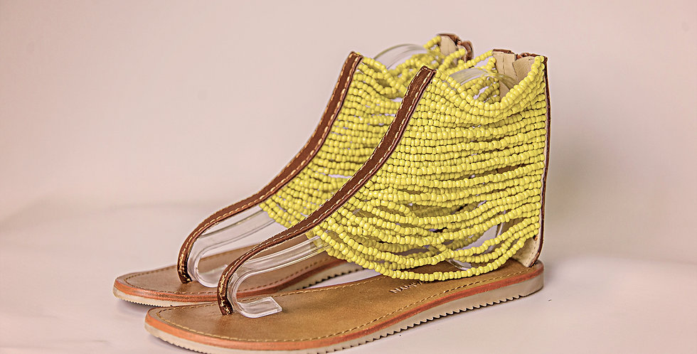 YELLOW BEADED LEATHER SANDALS