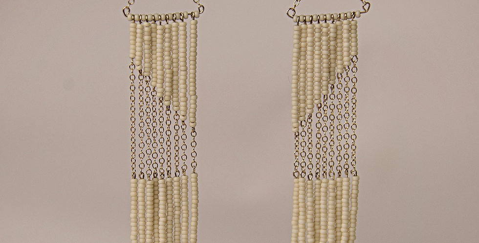 GEOMETRIC EARRINGWITH CHAIN (WHITE/GOLD)