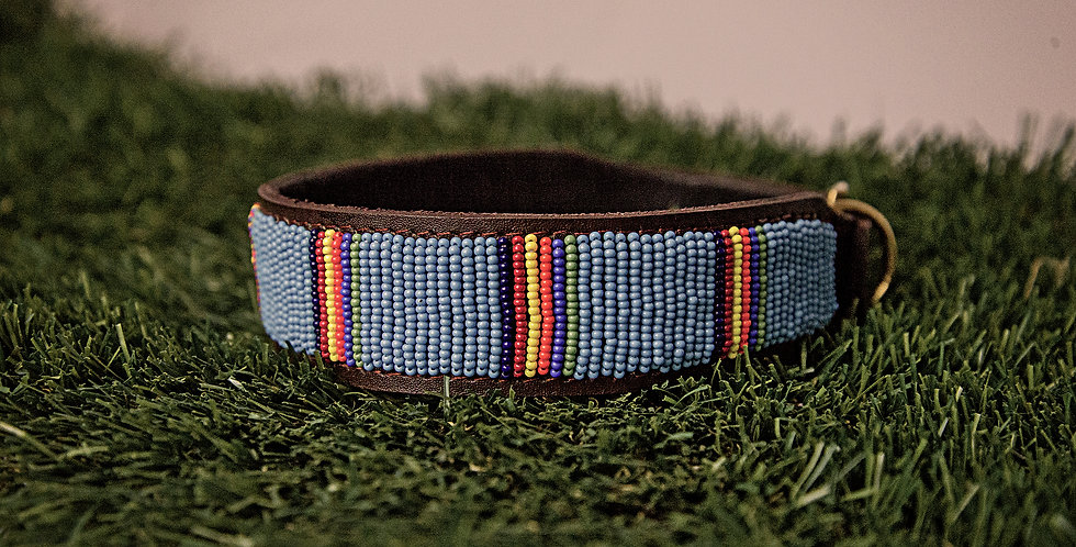 LEATHER BEADED PET COLLAR EX.LARGE