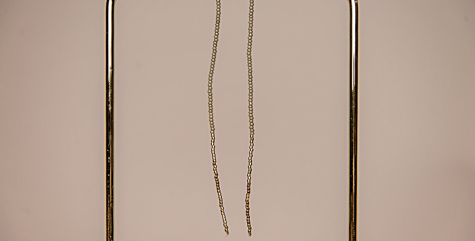 ENDITO COLLECTION-LONG DROP EARRINGS (TAUPE/GOLD)