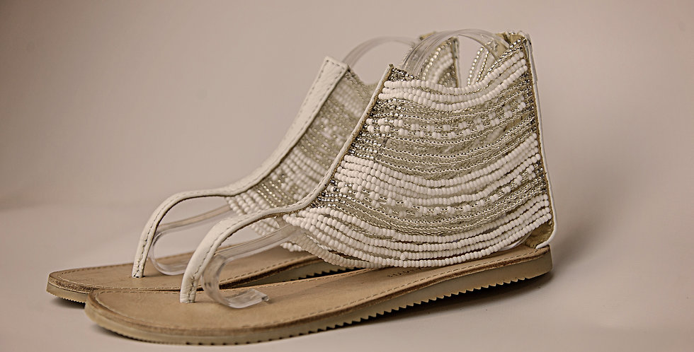 WHITE/SILVER BEADED LEATHER SANDALS