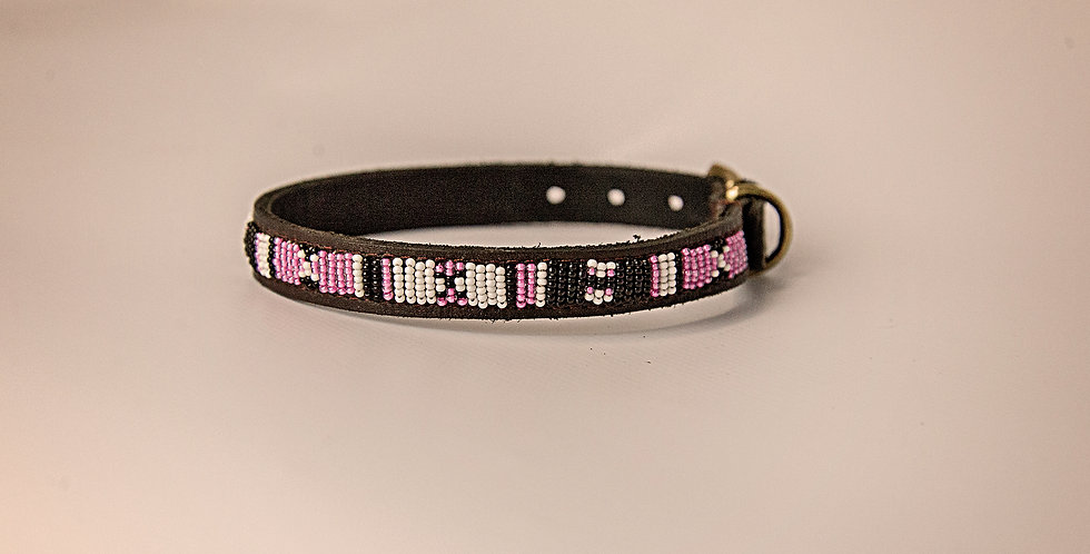 LEATHER BEADED PET COLLAR SM/MED