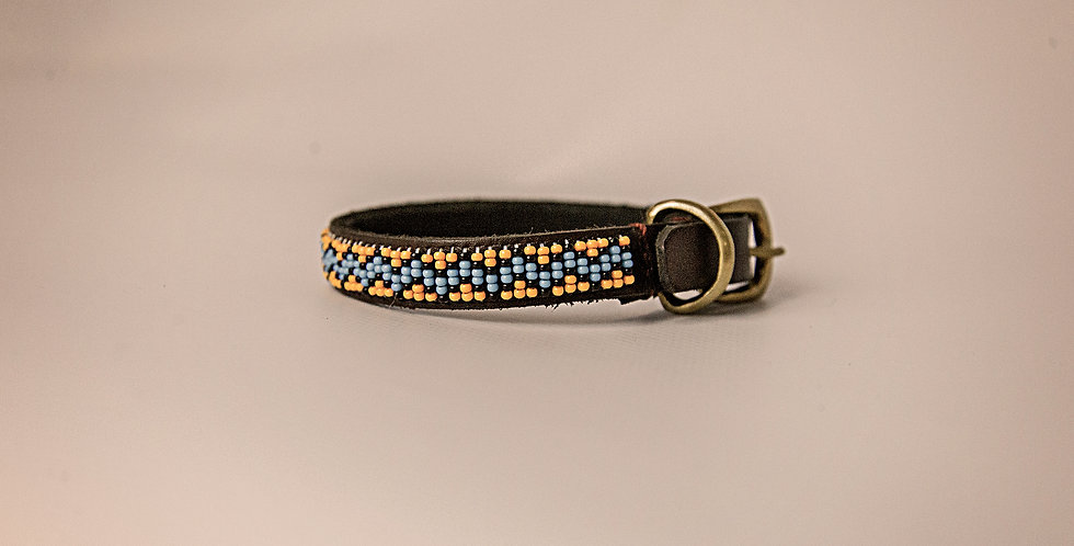 LEATHER BEADED PET COLLAR SMALL
