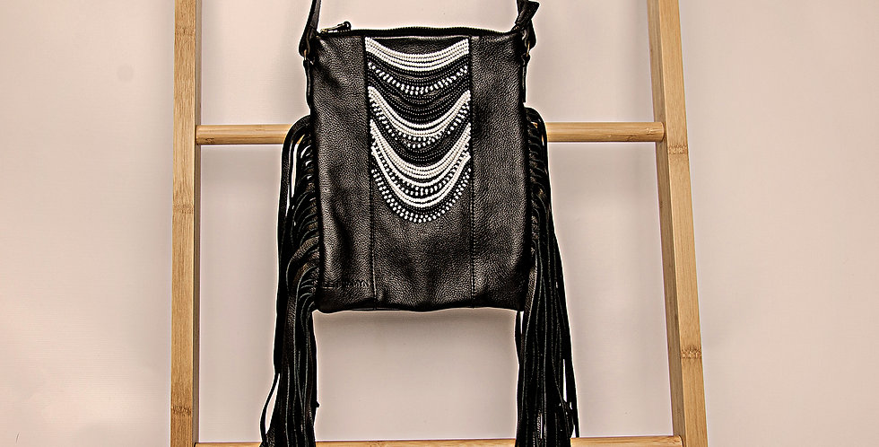 BLACK LEATHER/BLACK & WHITE BEADED HANDBAG