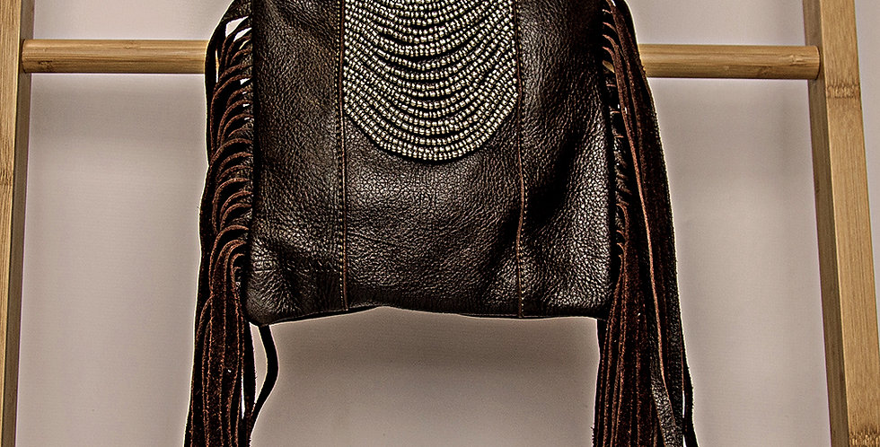 BROWN LEATHER/SILVER BEADED HANDBAG