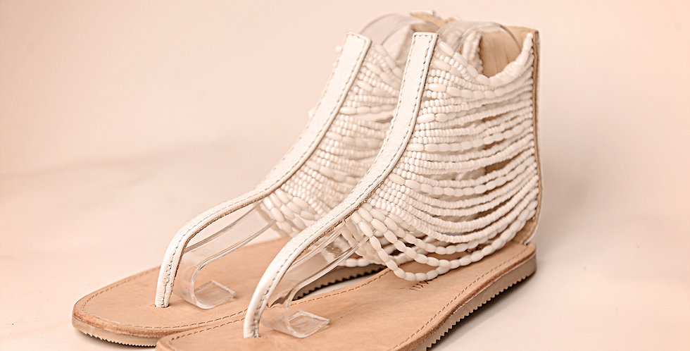 WHITE BEADED LEATHER SANDALS WITH WHITE TRIM