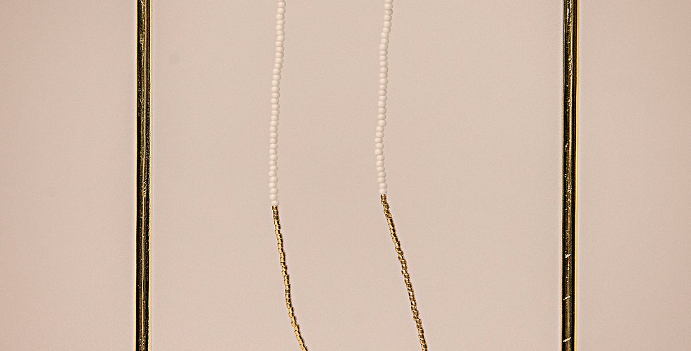 ENDITO COLLECTION-LONG DROP EARRINGS (WHITE/GOLD)