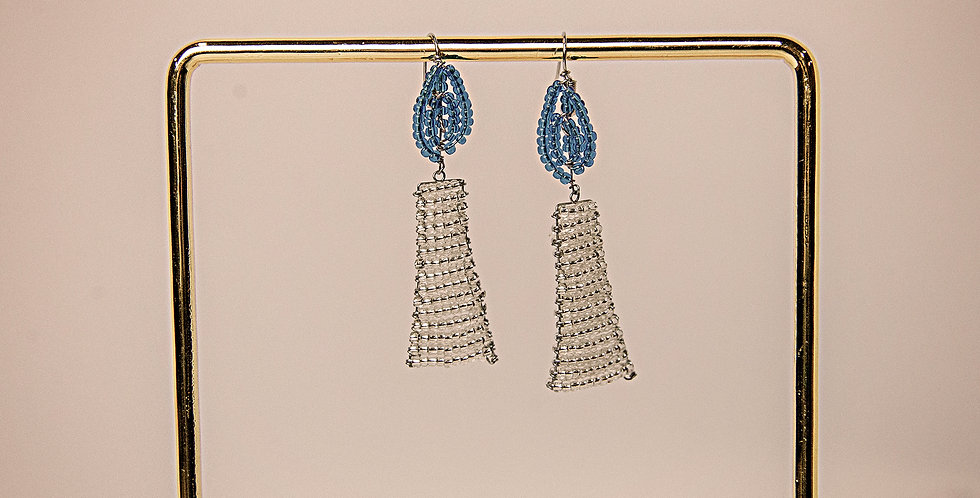 MSHUMAA EARRINGS (SILVER/BLUE)