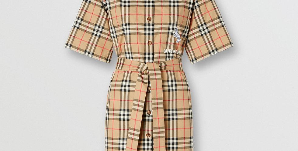 Burberry Zebra Appliqué Vintage Check Cotton Twill Shirt Dress